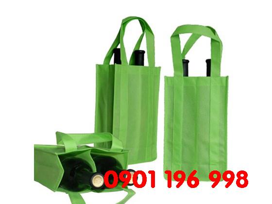 Túi không dệt, túi môi trường, túi đựng rượu, in logo lên túi vải không dệt