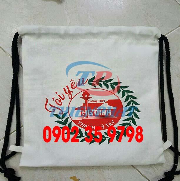 Địa chỉ sản xuất balo dây rút quà tặng, may túi rút quảng cáo theo yêu cầu